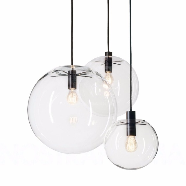 Nordic Pendant Lights Globe Chrome Lamp Glass Ball Hanglamp Lustre