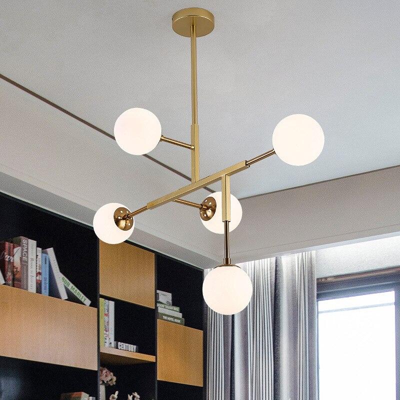 Lámparas de arañas Led nórdicas modernas, lámparas suspendidas para sala de estar, luminarias para loft, accesorios hierro para comedor, luces colgantes-in Candelabros from Luces e iluminación