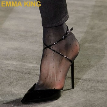 EMMA KING Fashion Black Patent Leather Stiletto Heel Pumps Pointy Toe Ankle Cross-Tied Women Slingback High Heels Party Shoes