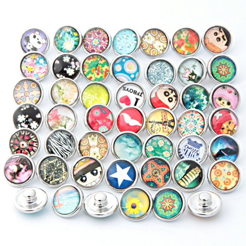Colorful 60PCs Mixed Pattern Glass 12mm Snap Buttons For Snap DIY Making Bracelets Bangles Girl Gift Fix Women Cartoon Jewelry image