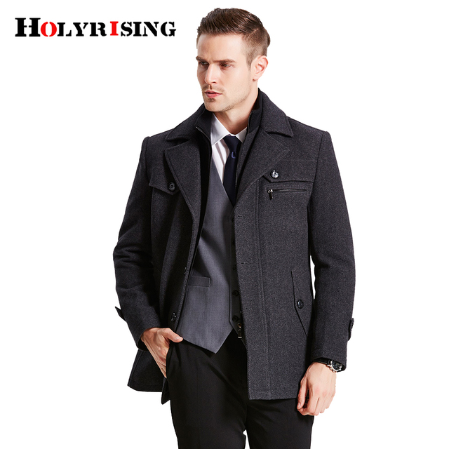 Men's Wool Coats & Jackets Winter Mens Casual Warm Outerwear Jacket Overcoat Pea Coat holyrising #18092