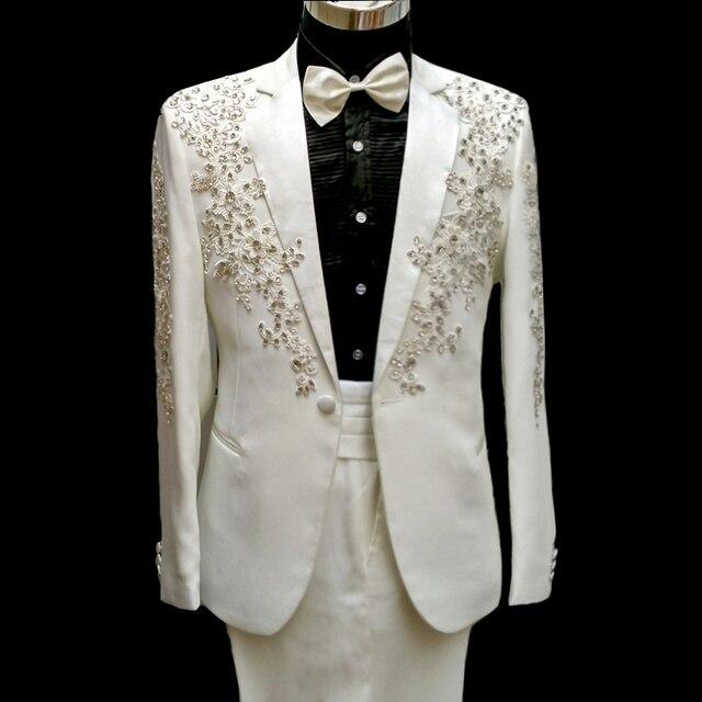 100% настоящее таможенных портной мужские полный вышивка кристалл бисероплетение белый/черный смокинг костюм/событие/stage performance