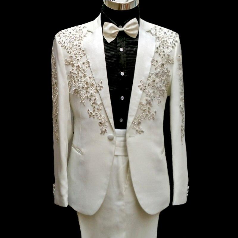 100 real customs tailor font b mens b font full embroidery crystal beading white black tuxedo