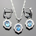 Lan Popular Sliver Planted Light Blue  AAA Zircon  Jewelry Sets  Necklace Pendant Earring For Wedding/Birthday Free Shipping