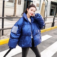 2019 Winter Glossy Down Parka womens jackets large sizes Warm Blue Thick Loose Coat Women Jacket Outerwear