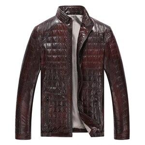 Image 2 - Autunno caldo di Inverno dei Nuovi Uomini di Stile di Cuoio Giubbotti Plaid in Cotone Coreano Casual abbigliamento In Pelle Mens Cappotti Giacca moto
