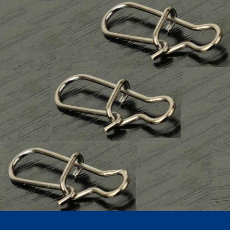 100X Umpan Memancing Konektor Stainless Steel Dual Lock Terkunci Cepat Perubahan Memancing Konektor Duo-Lock Diperkuat Pin Memancing Alat