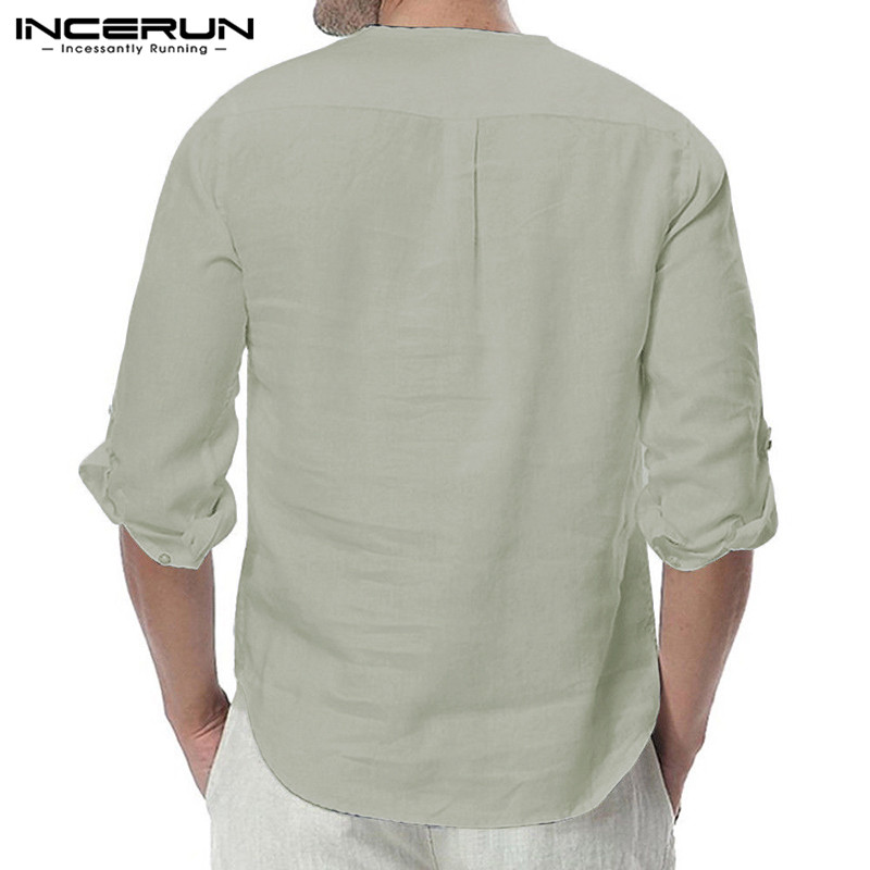 HTB1k2GhXKbviK0jSZFNq6yApXXag - INCERUN Fashion Men Shirt Long Sleeve Cotton Solid Casual Basic Shirt Men Tops
