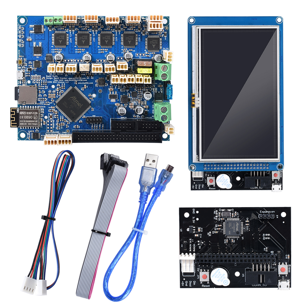 Cloned Duet 2 Wifi V1.04 Motherboard Duetwifi + External Expansion Board 4.3'' PanelDue Touch Screen RepRap For CNC 3D Printer