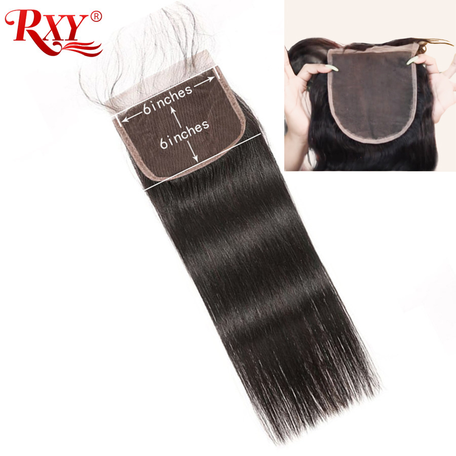 6x6 Closure RXY Brazilian Straight Hair Closure Remy Human Hair Swiss Lace Closure Pre Plucked With