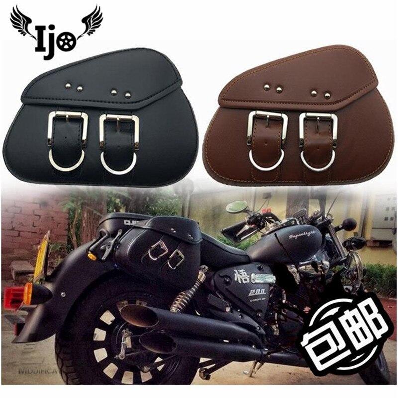 retro mini black brown cafe leather moto bag unviersal part motorcycle saddle bag for harley prince cruise motorbike side bag