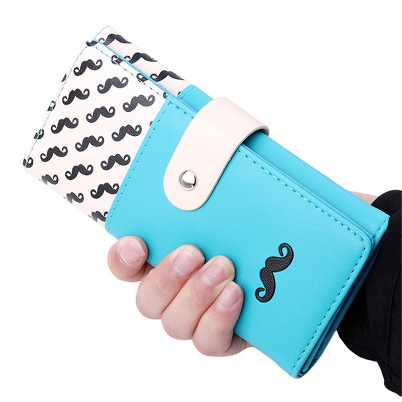 Fashion Cute Long Wallet Women PU Leather Cartoon Beard Buckle Wallets Lady Clutch 7 Colors Card Holder Female PA870353