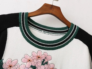 Image 3 - female casual stitching crane flower embroidery sweater