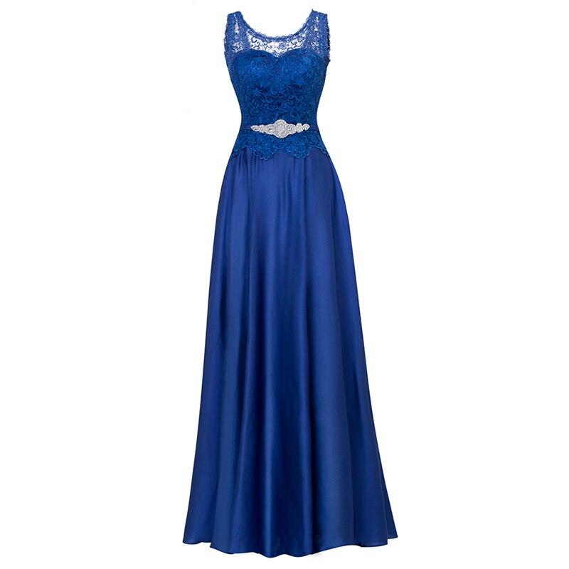Dressv Dark Navy Long Evening Dress Cheap Lace Up Sleeveless Wedding Party Formal Dress A Line Evening Dresses