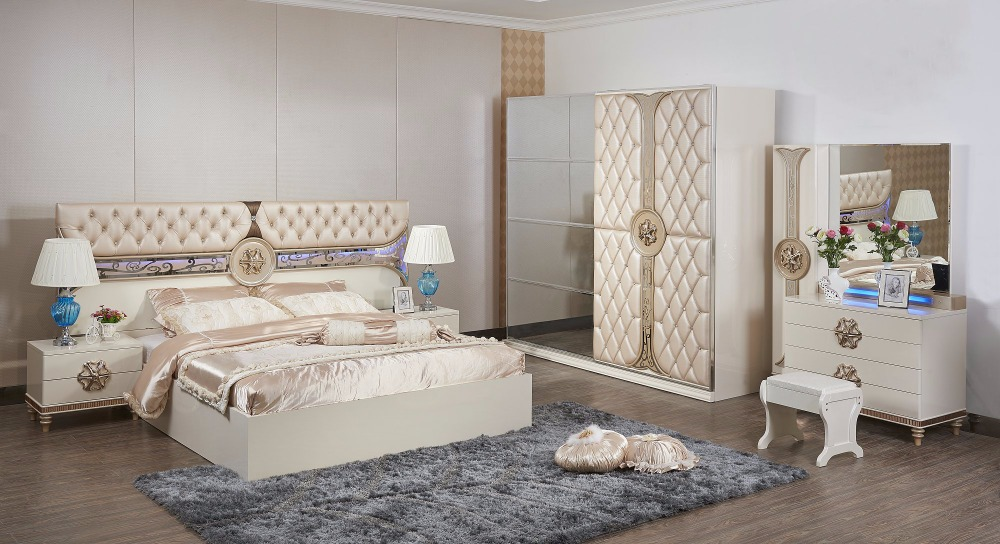 2017 Hot Sale Bedroom Set Furniture With Bed And Wardrobe And Dresser