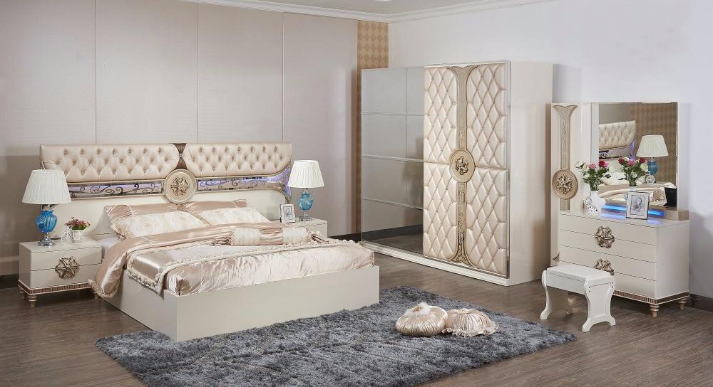 €1334.73 |Meubles baroques ensemble De chambre à coucher moderne Coiffeuse  Table De Maquillage Table De chevet offre spéciale meubles avec lit et ...