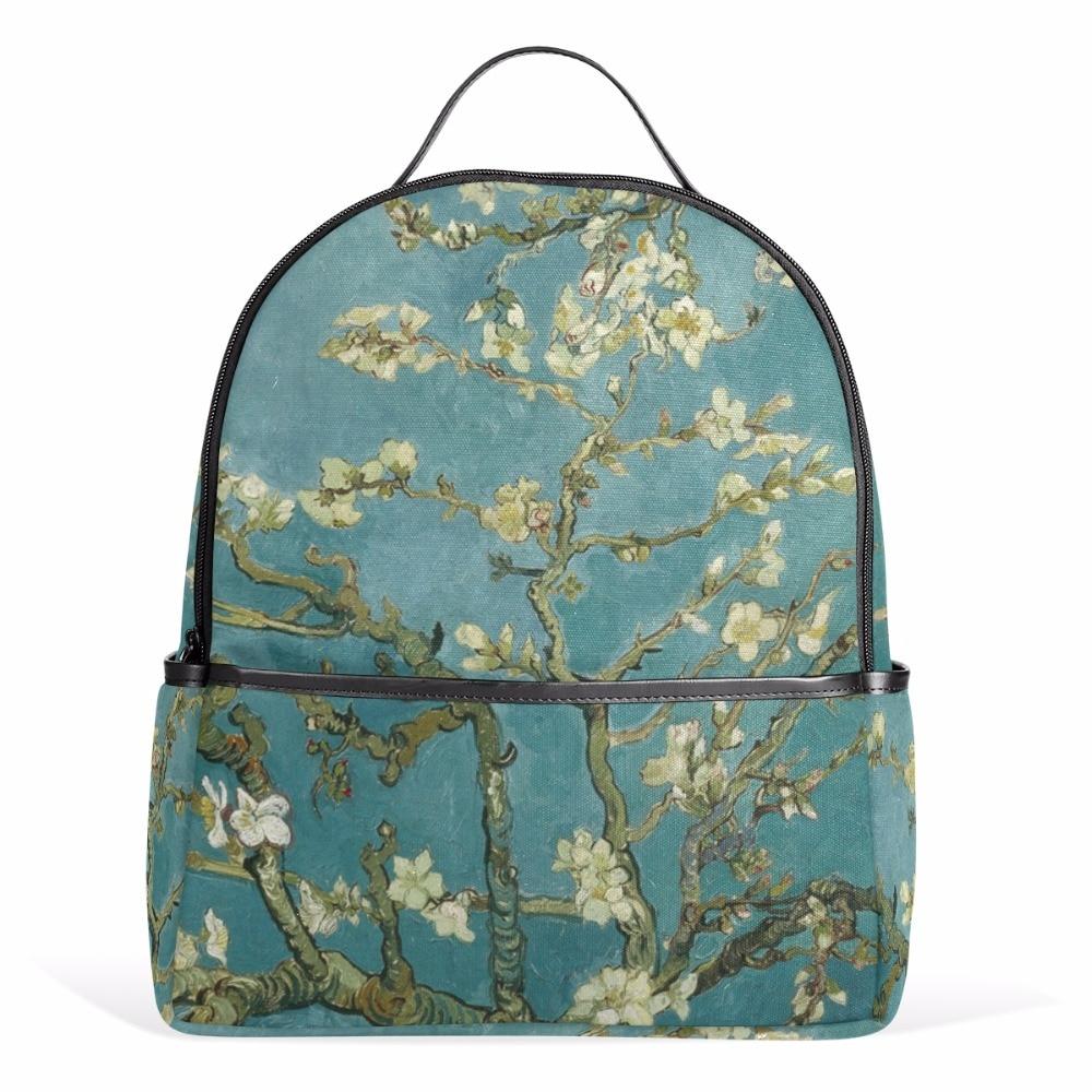 Art Backpack Van Gogh Almond Blossom Printing Canvas Backpack School Bags for Teenage Gi ...