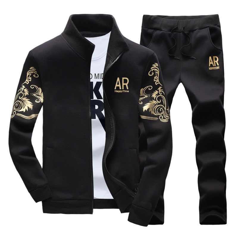 Conjuntos de Homens marca de Moda Primavera Outono Sporting Terno Camisola + Sweatpant Treino Sportswear dos homens Zipper Roupas 2 Peças Conjuntos