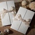 Классические Белые Цветы Шампанское Шелковый Галстук Свадебные Приглашения Карты, по Wishmade, W1113, минимальный Заказ: 5 Шт.