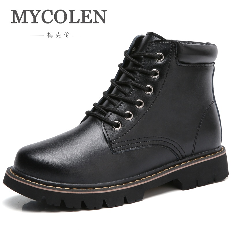 MYCOLEN Brand Designer 2018 New Fashion Handmade Women Boots Lace Up Low Heels Casual Winter Botas Femininas De Inverno