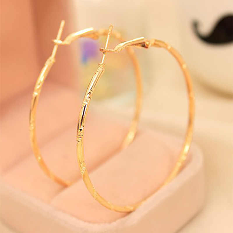 Simple Gold Silver Plated Big Hoop Earring For Women Statement Fashion Jewelry Accessories Large Circle Round Loop Earrings
