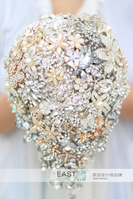 Bride Drop Brooch bouquet custom made Wedding Ivory Gold Jewelry