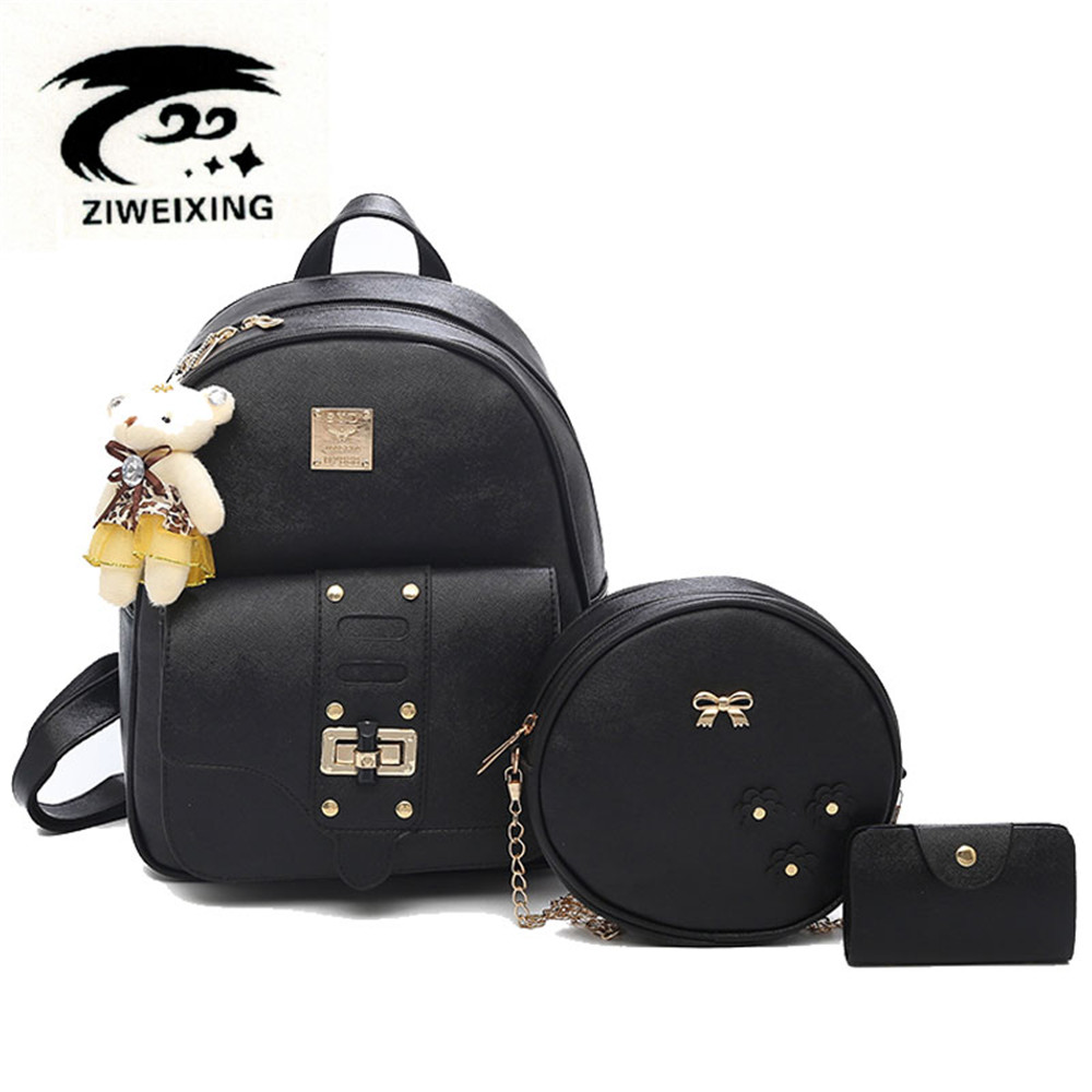 Fashion Women Backpack High Quality School Bags for Teenage Girls Cute Rivet Bookbags PU Leather Black Bowknot Backpacks Mochila womens fashion cute girls sequins backpack paillette leisure school bookbags leather backpack ladies school bags for teenagers