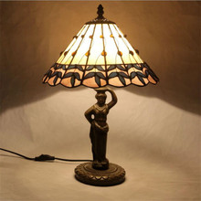 12 Vintage Pastoral Tiffany Handmade Glass Table Lamp for Foyer Apartment bar Bed Room European Reading Lighting H 45cm 1026