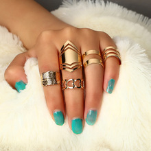 Fashion Midi Finger Ring Set for Women Vintage Boho Carved Crown Plam Knuckle Party Rings Punk Jewelry Gift 4 pcs set boho ring set 2019 fashion jewelry hollow compass rhinestone shell wedding ring set punk gold knuckle rings party gift