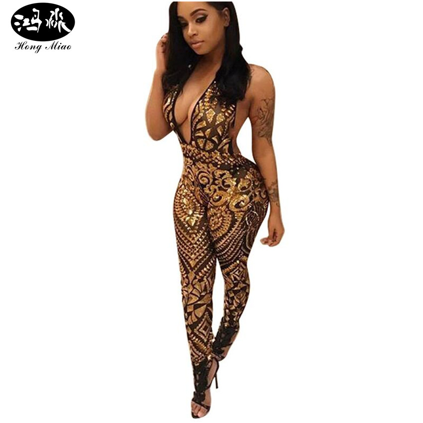 HongMiao 2018 New Fashion Summer Bodycon Mesh Sequins Jumpsuit Halter Backless Slim Rompers Womens Jumpsuit Sexy Club Overalls