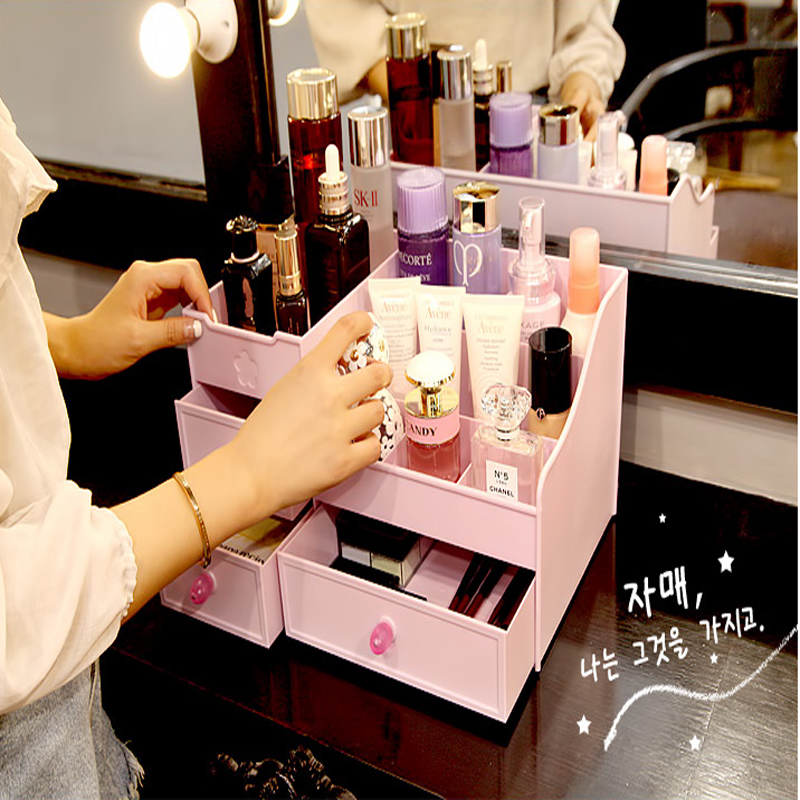 Make Organizer Plastic Opbergdoos Cosmetische Make Up Case Sieraden Doos Lippenstift Borstel Opbergdozen - 4