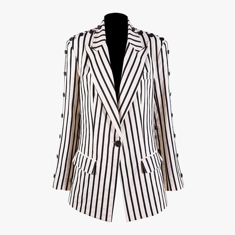 Manches Couture Costume 2019 Femme Femmes Sauvage À Longues Femelle Haut Coton Rayé Nouvelle L'europe Pour Printemps Revers Apricot Superaen Veste qSYwxzz