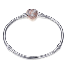 High Quality Charm Bracelet Rose Gold Heart Zircon Safety Buckle  Brand & Bangle Suitable For Women DIY Jewelry