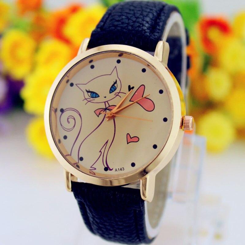 Fashion Ladies Women Watch Printed Cat Quartz WristWatch Reloj Mujer Zegarek Damski часы жнск Horloges Vrouwen Orologio Donna