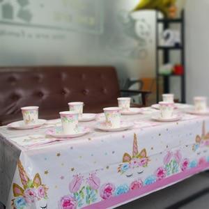 Image 2 - Kleine Zeemeermin Eenhoorn Partij Tafelkleed Kids Verjaardagsfeestje Decoratie Tafel Dekken Jungle Feestartikelen 1st Verjaardag Decor