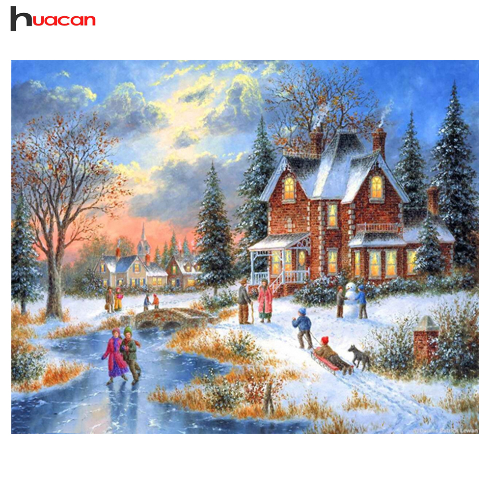 Christmas house painting - Huacan Diy 5d Diamond Painting Winter Landscape Hotel Decor Christmas Gifts Full Snow House Diamond Embroidery