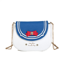 Fun Cute Sailor Moon Bow-knot Shoulder Messenger Bag Women Chains Pu Leather Hit Color Crossbody Bag Flap Mini Ladies Handbag