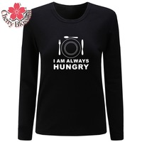 Cherry Blossom Women T Shirts I AM ALWAYS HUNGRY Printed Casual Tees Tops Ladies Slim Fit