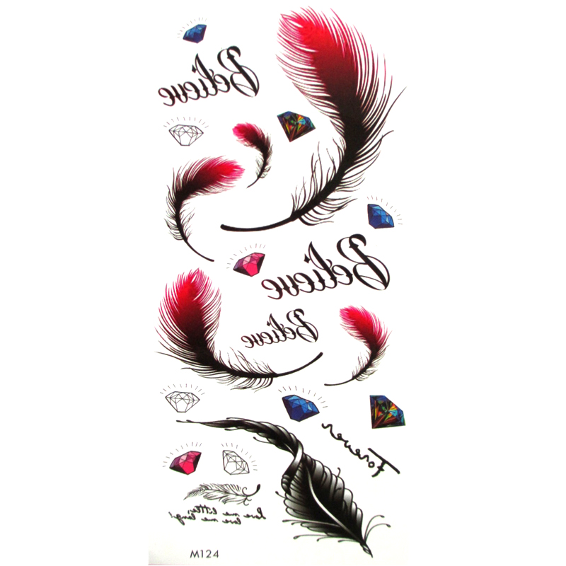 2pcs Trendy Feather Tattoos Stickers Waterproof Temporary Tattoos Fashion Goose Feather Stickers For Body Art Sleeve Arm