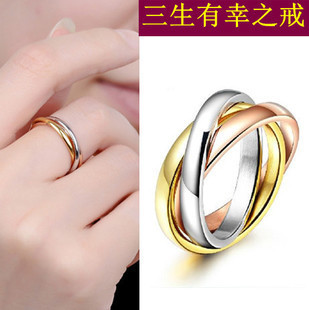Titanium rose gold color gold color rings Europe and America tricolor tricyclic ring couple rings for men and women