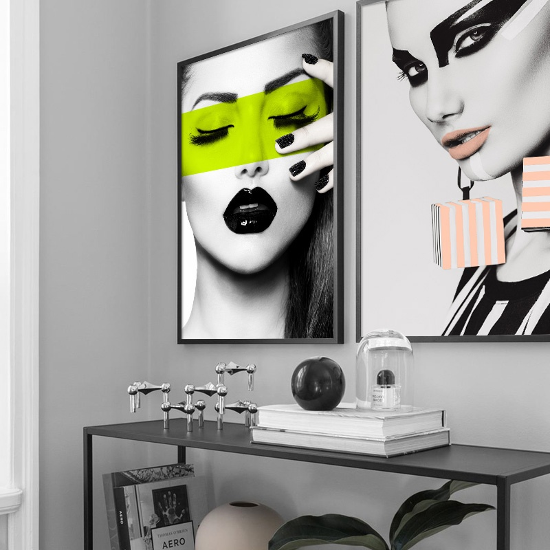 Sexy Girl Lip Makeup Salon Wall Art Canvas Painting Nordic Posters And Prints Fashion Poster Wall Pictures For Living Room Decor in Painting Calligraphy from Home Garden