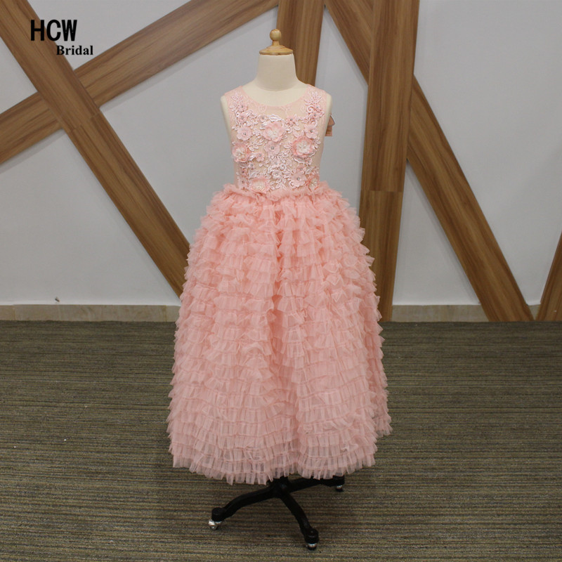 Wonderful Pink Ruffles   Flower     Girl     Dresses   2019 Exquisite   Flowers   Beaded Tulle Long Junior Wedding Party Gowns Cheap