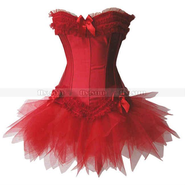 Красный Overbust корсет на шнуровке баска бюстье + красная юбка-пачка S M L XL 2XL 3XL 4XL 5XL 6XL