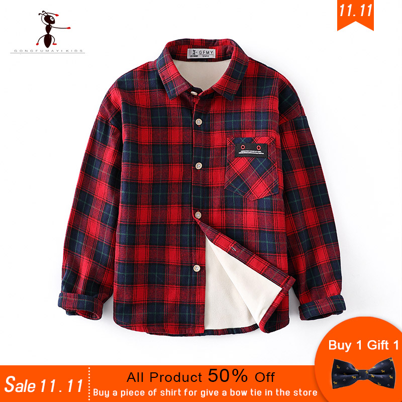 11.11 Presale Kung Fu Ant Brand Winter Plaid Warm High Quality Cotton Plush 5T-12T Boys Shirts Buy a Shirt Give a Bow Tie kung fu ant 2017 uk style vest shorts shirt and bow tie buttons school uniforms short sleeve summer sets for boys 4 pieces