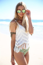 Sexy Women Summer Fashion Loose Blouse Ladies Sleeveless Lace Hollow Out Casual Beach Wear Clothes