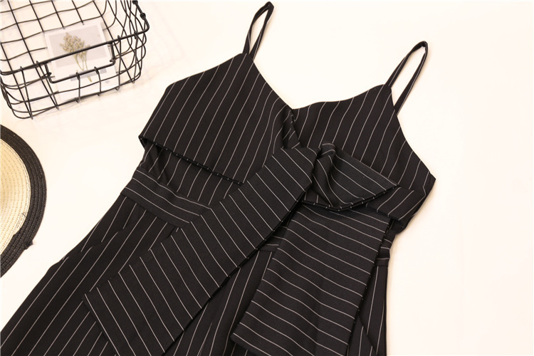 Summer Stripe Camisole Jumpsuit Women V-neck Striped Sexy High Waist Wide Leg Pants Office Ladies Red Black Overall Bodysuit 80