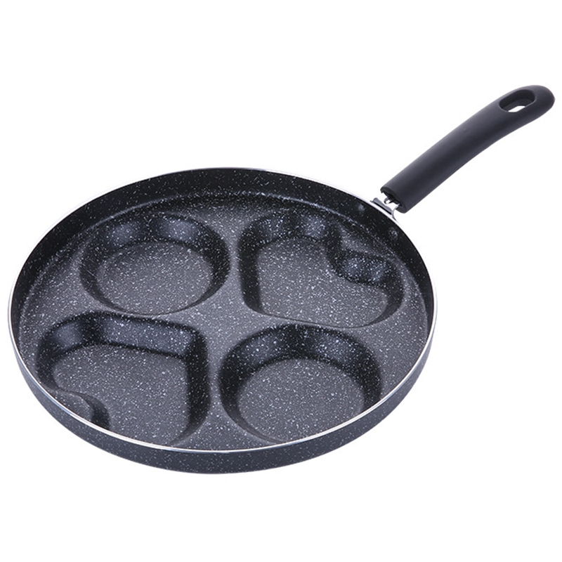 Heart-Shaped Non-Stick Frying Pan Four-Hole For Eggs Ham Pan Cake Maker No Oil-Smoke Breakfast Grill Pan Cooking Pot Multifunc