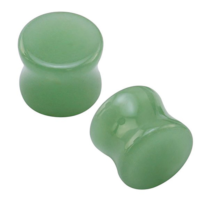 1 Pair Green Stone Plugs And Tunnels Ear Stretcher Double Flare Ear Expanders Plug Earrings New Trendy Ear Piercing Jewelry
