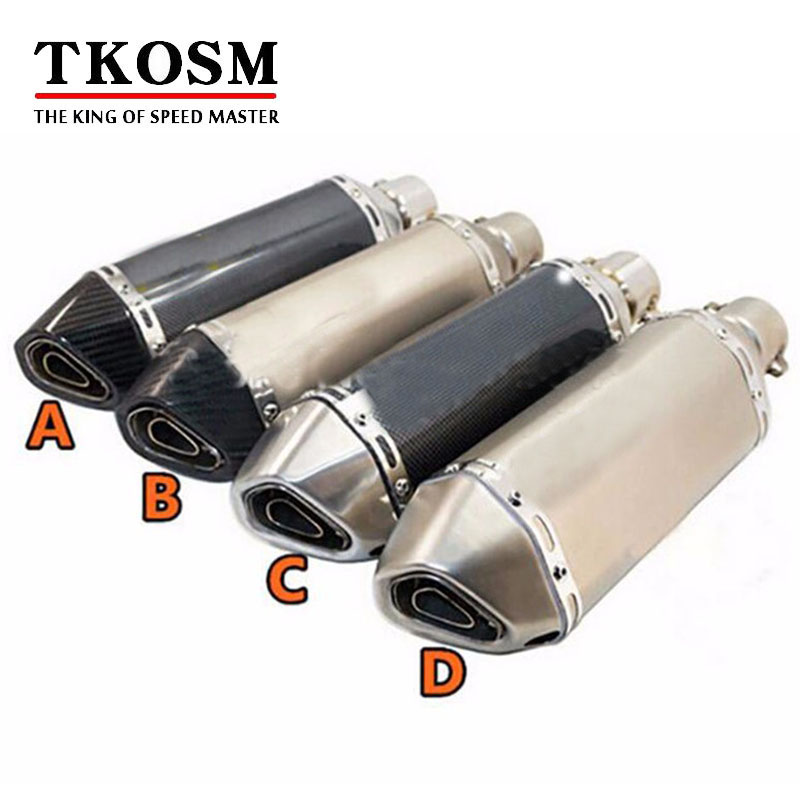 TKOSM Universal 36 51mm Motorcycle Exhaust Modified Scooter Exhaust Muffle GY6 for HONDA R1 R3 R6 FZ6 Z1000 GSXR600 with Sticker