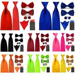 7 шт. Mens Solid Атлас Тощий широкий галстук галстуки бабочкой Карманный площадь запонки набор BWSET0303